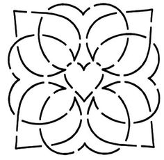 Quilt Stencil Interlude By Walner, Hari  - 4in Interlude Block continuous line stencil. Stencil is made of Mylar plastic with the displayed design cut into it.