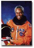 """Guion """"Guy"""" Bluford - NASA Astronaut was the first African American in space for the STS-8 mission aboard the space shuttle Challenger on August 30, 1983. In 1977 he applied to NASA to become an astronaut. A year later, he was selected for the program, along with two other African-Americans, Fred Gregory and Ronald McNair. Graudate of Penn State in 1964 in Aerospace Engineering and PHD from the Air Force Institute of Technology in 1978. He is a member of Omega Psi Phi Fraternity, Inc."""