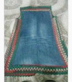 """""""It is nice example to e Pull Crochet, Crochet Yoke, Crochet Skirts, Crochet Granny, Crochet Clothes, How To Patch Jeans, Free Crochet Doily Patterns, Denim Ideas, Granny Square Sweater"""