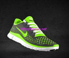 94b768930b Mens Nike Free 3.0 V4 Dark Grey Electric Green Wolf Grey Bright White Lace  Shoes [