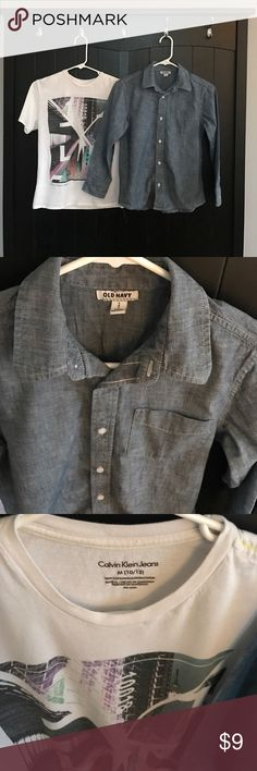 Bundle of boys shirts Pre-loved shirts in good condition | 1 Denim button-down Denim long-sleeve | 1 Calvin Klein graphic tee 10/12 Calvin Klein Shirts & Tops