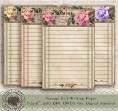 4x6 Flower Writing Paper 4x6 Floral Stationery Paper