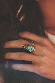 Raw turquoise & rustic gold ring.