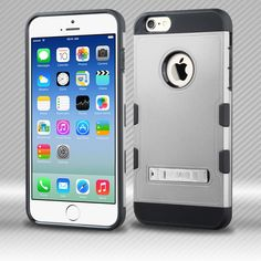 iPhone 6S/6S Plus TUFF Trooper Rubberized Silver/Black Hybrid Case with Stand