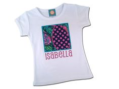 Girl's Easter Shirt with Floral Easter Egg Box and Embroidered Name by SunbeamRoad