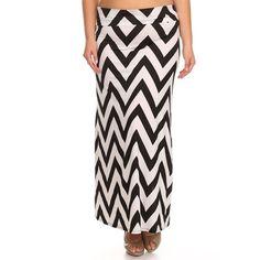 Chevron Black/White /Spandex Plus-size Maxi Skirt