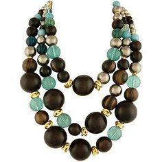 Wood & Fluorite Necklace by Alexis Bittar
