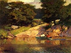 Edward Henry Potthast, Boating in Central Park Fine Art Reproduction Oil Painting