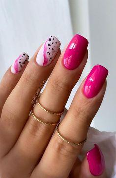 Stylish Nails, Trendy Nails, Cute Nails, Fruit Nail Designs, Short Nail Designs, Shellac Nails, Gold Nails, Bright Pink Nails, Bright Nail Art