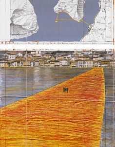 on june 18, christo reveals 'the floating piers', an installation that connects italy's lake iseo by a floating dock covered in shimmering yellow fabric.