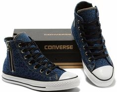 Converse Chuck Taylor All Star Violet Leopard Side Zipper High Tops Canvas Shoes