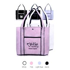 "Tote Bag...Premium fashion tote bag, 600Denier color polyester, 12.125"" x 16.25"". 4.875"" gusset. 23.25"" x 1.625"" reinforced straps. Convenient fashion tote bag with snap fastener button, outside 705"" x 7.625"" pocket and a tough black bottom. Hand wash only. Durable and reusable. Great gift and giveaways in trade shows!"