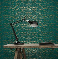 MissPrint Behang – Saplings Turquoise With Gold