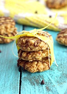 No-Bake Healthy Breakfast Cookies with creamy peanut butter, oats, flaxseed, honey, rice krispies,  optional add ins