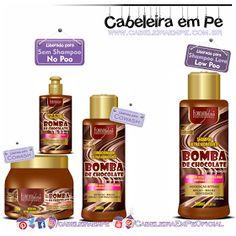 Linha Bomba de Chocolate - Forever Liss (Shampoo liberado para Low Poo - Máscara, condicionador e creme para pentear liberados para No Poo