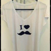 T - Shirt I love moustache branca