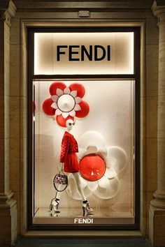 The Fendi boutique at Palazzo Fendi, Rome displaying the colorful Fendi Flowerland collection.