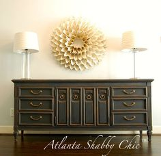 WOW. Doesn't get much better than this piece! Dining room buffet? Amazing dresser? Entry way piece to grab everyone's attention? Maybe even under a flatscreen in a family room. LOVE. Painted in Annie Sloan's Graphite chalk paint, delicately distressed, and clear waxed. www.facebook.com/atlantashabbychic www.atlantashabbychic.blogspot.com