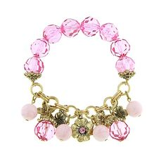 You can charm all your friends and family with this sweet and sophisticated charm bracelet. A bold textured chain suspends a variety of gold flowers each blossoming with its own individual and unique detail. A splash of color is added with an assortment of bold multi-faceted rose crystal beads and delicate pastel pink spheres. Its feminine and whimsical details are sure to catch the eyes of everyone!