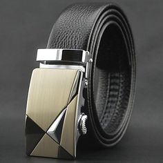Mens Elegant Fashion Leather Belt With Automatic Buckle