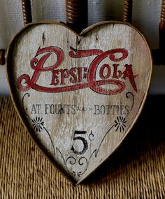 hand painted heart with Pepsi logo, made of old wood  http://thevintagekate.wordpress.com