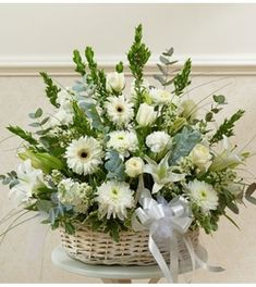 This garden basket features flowers in white tones to express your sympathy. Our designers use only the freshest flowers making this basket a wonderful way to honor a loved one. *Arrangement measures approximately x 800 Flowers, Cheap Flowers, Flowers For You, Colorful Flowers, Church Flowers, Funeral Flowers, Flowers Garden, Spring Flowers, Funeral Floral Arrangements