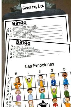 "Spanish Emotions Bingo | Learn emotions with this bingo game that uses short sentences (not just words) to identify 12 English & Spanish emotions. Get kids talking about feelings! Fun game for kids of all ages. Teachers are saying: ""Love this type of bingo game where students hear more than just the vocabulary and have to translate it."" Includes 40 cards per set. #spanishemotions #teachingemotions #emotionsgames #emotionsbingo #spanishemotionsactivities"