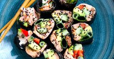 Perfect as paleo sushi alternative, these nutritious and filling seaweed nori rolls are perfect for a quick lunch or as a snack. Use a variety of filling options.