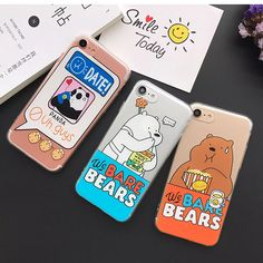 Clear Soft TPU Phone Case For iPhone 6 6s Plus 7 7 Plus 5s 5 SE Cute Cartoon Bare Bear Panda Back Covers For iPhone 6 6s Case