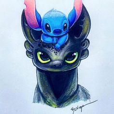 Toothless and stitch by them selves are cute but, even cuter together😻 Cute Disney Drawings, Cute Animal Drawings, Kawaii Drawings, Cute Drawings, Drawings Of Disney Characters, Arte Disney, Disney Art, Disney Movies, Funny Disney