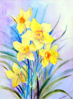 Daffodils Original Watercolor painting 12 X 9 fine by ORIGINALONLY, $28.00