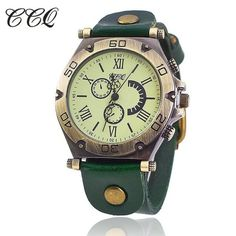 CCQ Brand Vintage Roman Cow Leather Bracelet Watch Casual Luxury Men WristWatch Quartz Watch Relogio Feminino Gift 1822