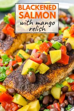 Blackened Salmon with mango black bean relish - a quick and easy healthy dinner recipe for seafood lovers! Looks fancy and gourmet and tastes FANTASTIC together. Serve this over mashed cauliflower, mashed potatoes, rice, or quinoa. Appetizers For A Crowd, Seafood Appetizers, Seafood Recipes, Cheese Appetizers, Party Appetizers, Easy Healthy Dinners, Healthy Recipes, Photo Food, Rice Recipes For Dinner