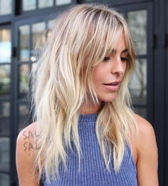 Long Blonde Shag Haircut