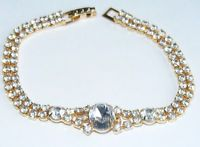 "Unsigned Gold Tone Vintage Clear Round Rhinestone 7"" Bracelet J4"