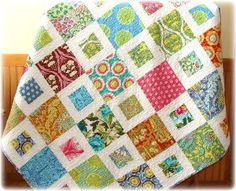"Quilt--I can see doing this quilt for each girl, Love the ""bigger blocks"" for patterned fabrics and smaller pieces for color tied by the neutral. Makes a lovely flow."