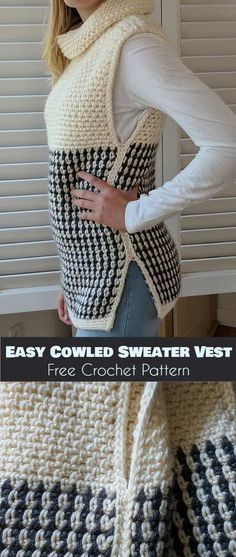 Easy Cowled Sweater Vest [Free Crochet Pattern]