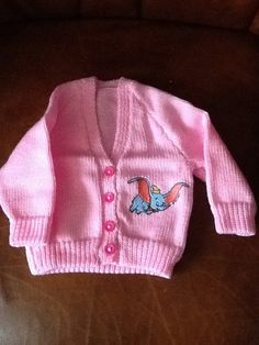 Pink hand knitted baby cardigan with Dumbo by Happilyevercrafts, Knitted Baby Cardigan, Baby Ideas, Baby Knitting, Custom Made, Nursery, Colour, Cartoon, Embroidery, Children