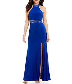 GB Social Jeweled Trim Mock Neck OpenBack Gown #Dillards