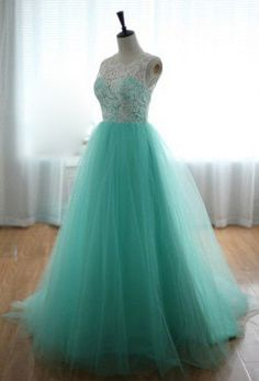 <3 Retro Lace Covered Long Teal Princess Prom Gown by dressesforparty