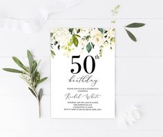 Excited to share this item from my shop: White Roses Birthday Invitation, Floral Invitation for Woman, Milestone Adult Birthday Party Invite, Fifty Floral Invites, Printable 40th Birthday Quotes, 70th Birthday Gifts, Adult Birthday Party, Happy Birthday Images, Birthday Gifts For Girls, Birthday Cakes, Wife Birthday, Birthday Greetings, Birthday Wishes