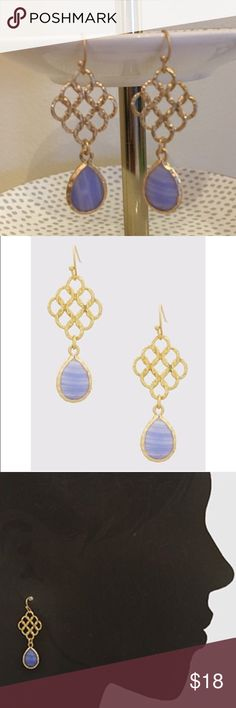 """Semi Precious Gold Hammered Drop Earrings Semi Precious Gold Hammered Earrings in gold and purple colors. Total length 2"""". Nickel and lead free Bchic Jewelry Earrings"""