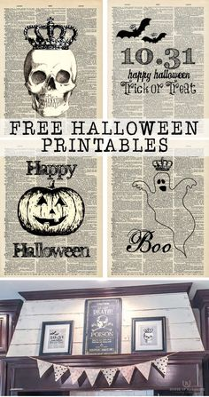 Enjoy these FREE Halloween printables. Decorate your home with spooky chic art for FREE! Print them, frame them and you are all set! Halloween Frames, Diy Halloween Costumes For Kids, Halloween Quotes, Halloween Home Decor, Outdoor Halloween, Halloween House, Spooky Halloween, Holidays Halloween, Happy Halloween