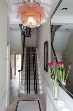 Floral ceiling lampshade in hallway of contemporary London home with carpeted staircase UK Wooden Staircases, Wooden Stairs, Interior Photography, Ceiling, London, Contemporary, Mirror, Floral, Home Decor