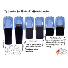 top lengths for skirts of different lengths