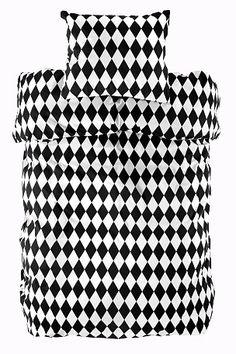 Ellos Home Harlequin-pussilakanasetti, jossa painetut ruudut Musta/valkoinen - Pussilakanasetti   Ellos Mobile