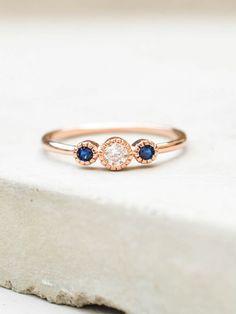 3-Stone Milgrain Ring - Rose Gold + Sapphire