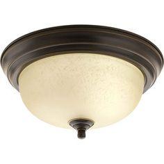 White glass instead-   Progress Lighting 11.375-in W Antique Bronze Ceiling Flush Mount