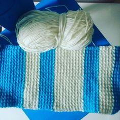 Stripy scarf for my little one #crochet #scarf #stripes #blue