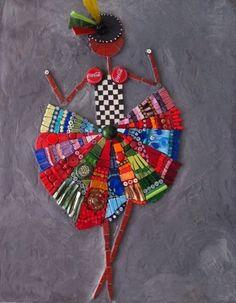 """tableau en mosaïque """"Rum & Coca Cola"""" sur toile en chassis. Fond en ciment teinté"""